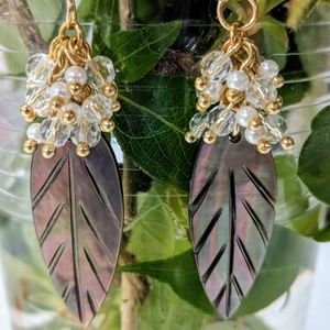 Jewelry - Shell leaf earrings with 18 karat gold ear wires